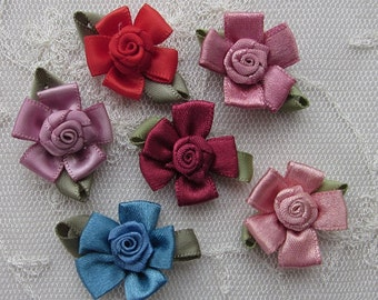 12pc Pink Blue Red Mauve Wine Satin Ribbon Fabric Flower Applique Shabby Chic Baby Doll Bow
