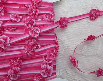 HOT Pink Glass Beaded Pansy Fabric Flower Ombre Ribbon Trim Shabby Chic Candy Stripe Scrapbook Doll Quilt