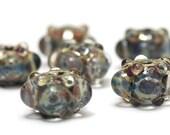 Handmade Glass Lampwork Bead Sets - Six Purple & Blue Rondelle Beads -  Bubbly Raised 10408921