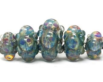 Five Graduated Blue Borosilicate Rondelle Beads Bubbly raised design. - Handmade Glass Lampwork Beads - 10601911