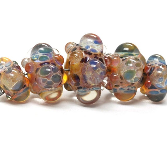 Five Graduated Multi-Colored Rondelle Beads Bubbly raised design. - Handmade Glass Lampwork Beads - 10902711