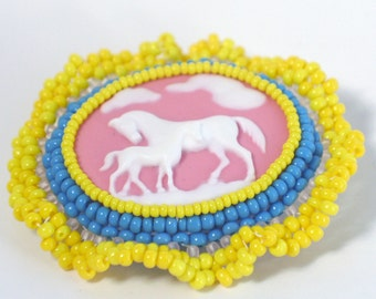 Bright Yellow Horse Brooch