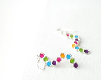 Silver Rainbow Earrings, Pop Art Jewelry, Colorful Vivid Earrings