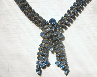 Wide Art Deco Blue Rhinestone Necklace Downtown Abbey Flapper Style 1950's 60's vintage