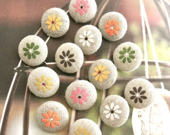 Handmade Small Beige Red Green White Brown Floral Flower Fabric Button, Flat Backs, Wedding Buttons, CHOOSE COLOR 0.75 Inches 5's