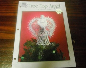 Thread Crocheting Patterns Tree Top Angel Crochet American School of Needlework White Christmas Collection Leaflet