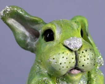 Green Bunny, lime green bunny sculpture, wild hare, sparkly bunny