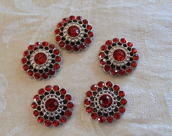 Set of 4 Ruby Red Acrylic Rhinestone Flat Back Buttons 26mm