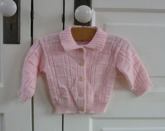 Vintage Pink Baby Sweater Spring Fall Girl Cardigan