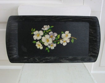 Vintage Tray Black Dogwood Flower Wood Serving Set White Art Wall Hanging