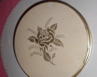 Vintage Shabby Chic looking Round Metal Tin Can White with gold roses on it