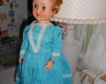 "Vintage 21"" Doll Hard and soft plastic has Jewelry and Clothing Head can move"