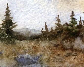 """An aceo print of the original watercolor painting """"Highland Scenic Highway""""  George Washing National Forest remote scenic drive skyline"""