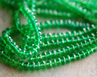 Green Quartz Rondelles, Emerald, 5 mm, Faceted and Transparent, Parcel of 20 Semiprecious Beads
