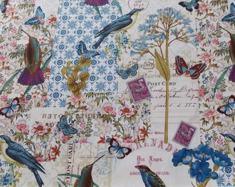 Blue Birds Butterfly and Notes Fabric BTY