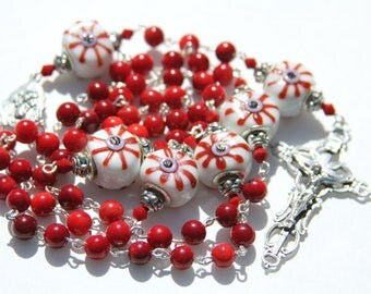 Catholic Rosary Necklace with Red Bamboo Coral and Lamp Work Glass Beads