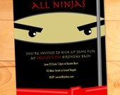 Ninja Birthday Invitations, Karate Kicks Birthday Card, Modern Birthday Party Invite, Custom Birthday Invitation