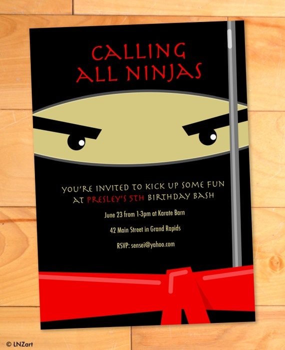 Ninja Birthday Invitations Karate Kicks Birthday Card Modern