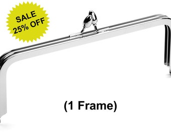 "1pc - 8"" x 3"" Nickel Purse Frame with Teardrop Clasp - Free Shipping (PURSE FRAME FRM-100)"