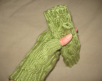 Fern Green  Fingerless Hand Knit Gloves