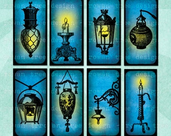Digital Collage Sheet LAMPS & CANDLES 1x2in Domino Tile Printable Download - no. 0121