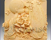 2D Silicone Soap Mold - Kissing Couple - free shipping - you are buying from original designer - say no to copycats