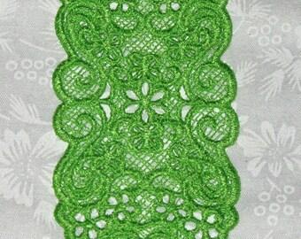 "Machine Lace Bookmark, Floral Bookmark, bright green, 4 3/4"" x 2""."