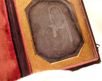 Antique 1840s Ghostly Daguerreotype Woman in Bonnet Wood And Leather Case with Velvet and  Brass