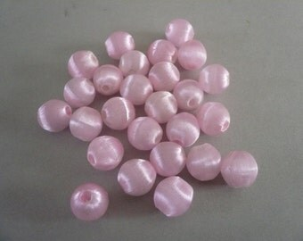 Vintage Silk Wrapped Pale Pink  Beads (25)