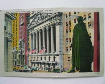 Antique Linen Finish Postcard New York Stock Exchange Wall Street NY  1940s