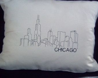 Embroidered Cityscape Pillow