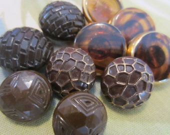 Vintage Buttons - Beautiful brown and rootbeer assortment, assorted glass, lot of 10, old and sweet (6403)
