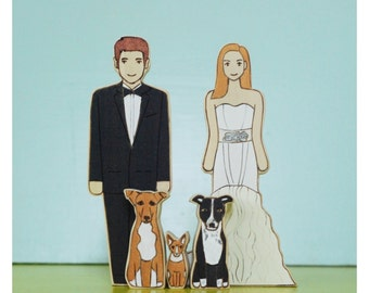 Custom Wedding Cake Topper couple with Three Pets
