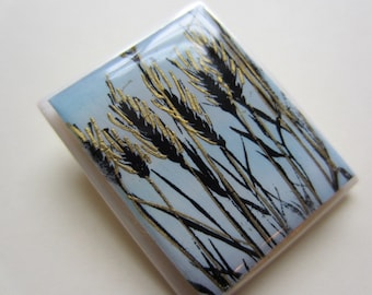 Botanical Cattails silhouette pin brooch