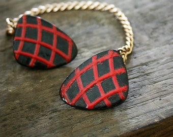 vintage Upcycled 60s Black and Red Checkerboard Mod Triangles Sweater Clip