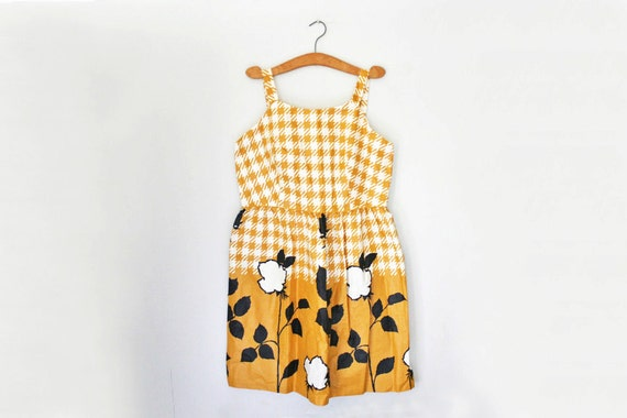 vintage 50s Mustard Yellow Floral Print Houndstooth Check Plus Size Summer Party Dress