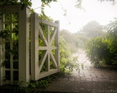 Mystic Garden Gate - Dreamy Art, Color Photography Print, Ethereal Light, Magical, Green Botanical Photograph, Free Shipping