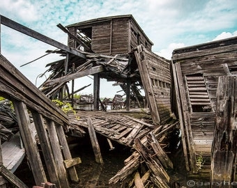 Collapsed Pier, Abandoned, Dilapidated Rustic Wood Dock, Nautical, Color Photograph, Surreal Color, Free Shipping
