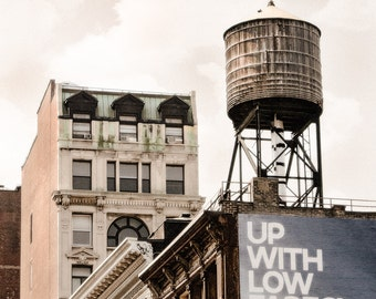 New York Water Tower, Industrial Chic Fine Art Photograph, Square Format, Urban, Rooftop Water Towers,Signed Print