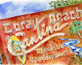 Coral Beach Cantina watercolor painting