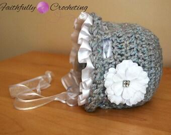 Newborn Bonnet... Gray Sparkle Bonnet.... Flower hair clip... Photo Prop.. Ready to ship