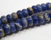 8 Beads....  Blue Sodalite Puffed Smooth Rondelle Gemstone Beads....8mm..BB