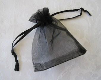 20 Gift Bags, Black Drawstring Bags, Jewelry Gift Bags, Organza Bags, Wedding Favor Bags, Sachet Bags, Fabric Bags 3x4
