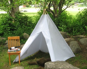 Play Tent, Teepee, Tipi, Heavy Canvas, As Shown in White, or Choose from 14 Different Colors, Custom Order