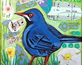 Original mixed media bird painting on canvas Linda Kelly