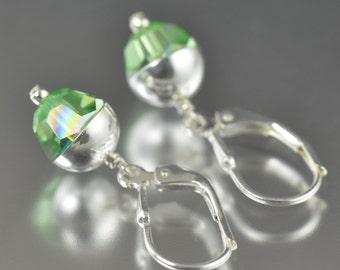 Valentine's Day gift Peridot earrings August Birthstone earrings swarovski crystal earrings green earrings  gifts for her
