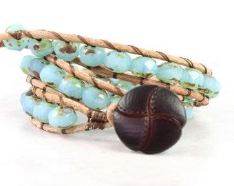 Ocean Blue Leather Wrap Bracelet Tan Suede Aqua Pastel Rustic Bohemian Style Double Wrap Beach Hippie Jewelry