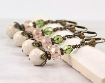 Pink Bridal Earrings Mint Green Earrings Peach Bridesmaid Earrings Pink Coral Jewelry Woodland Jewelry Bronze Earrings Spring Fashion