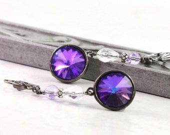 Purple Drop Earrings, Crystal Rivoli Earrings, Gunmetal Jewelry, Gift for Her, Long Dangle, Lavender, Goth Jewelry