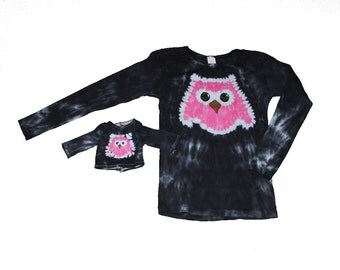 Girl and Doll Owl Shirt Set in Black with a Hot Pink Owl Tie Dye- Fits 15 to 18 Inch Dolls